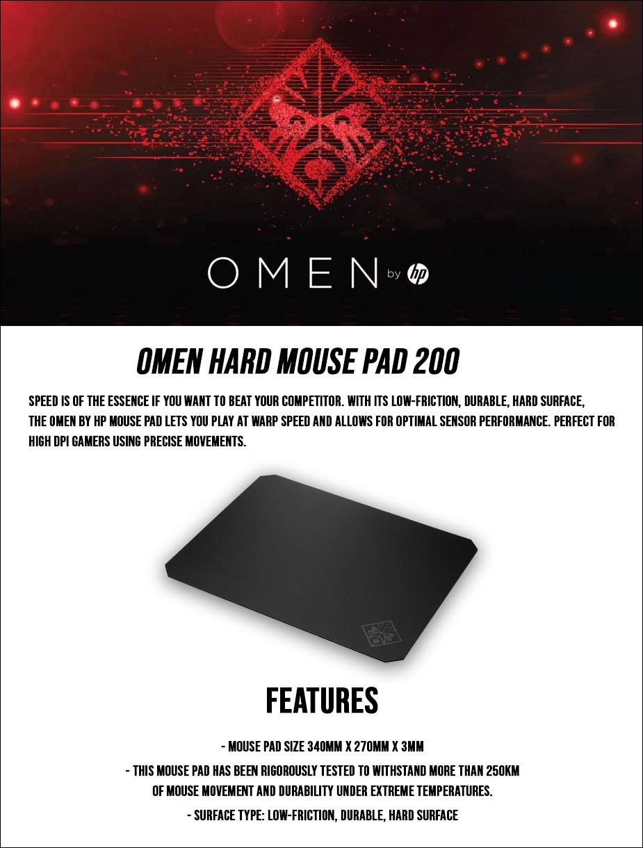 HP OMEN 200 Hard Gaming Mouse Pad - Desktop Overview 1