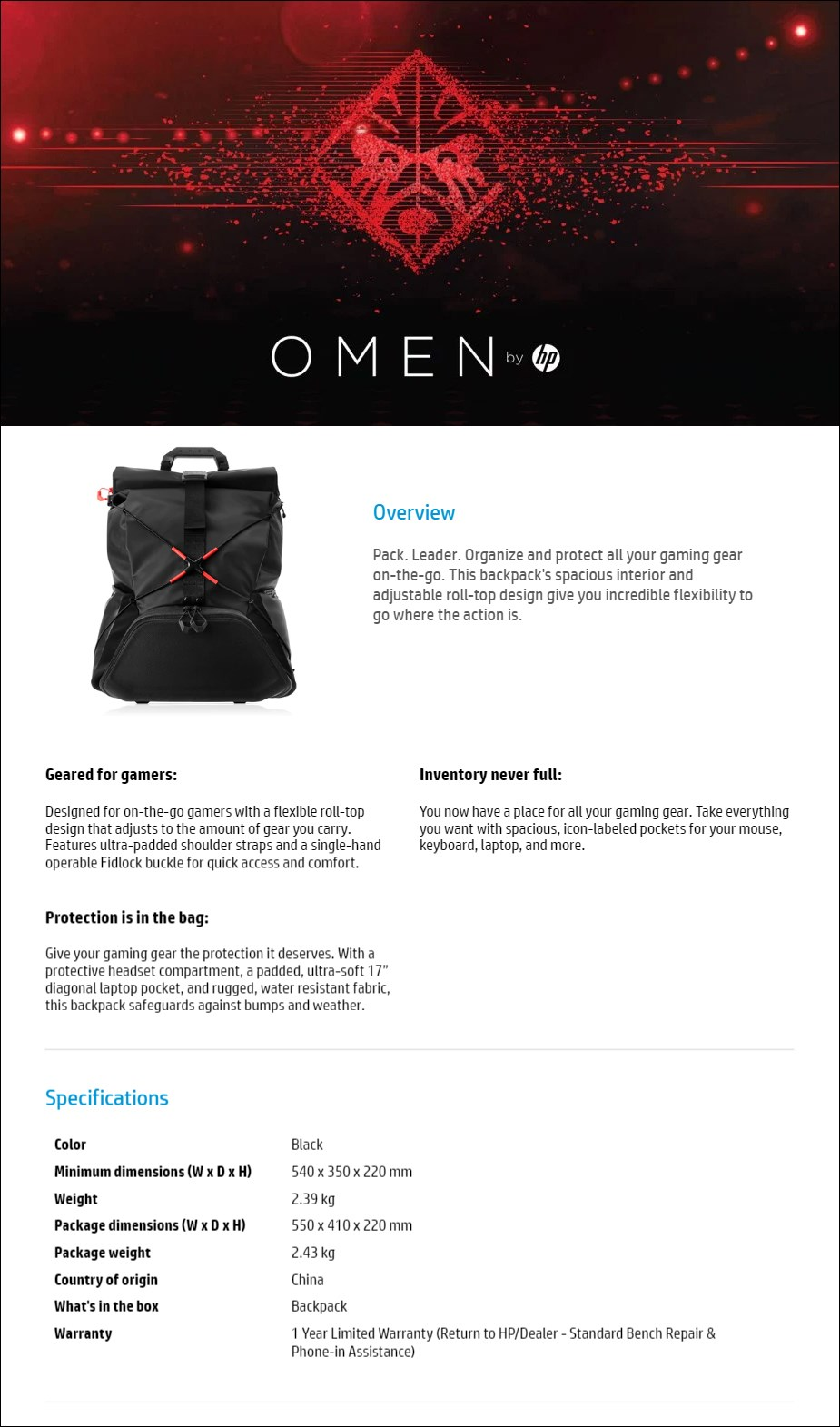 HP OMEN X Transceptor Backpack - Desktop Overview 1