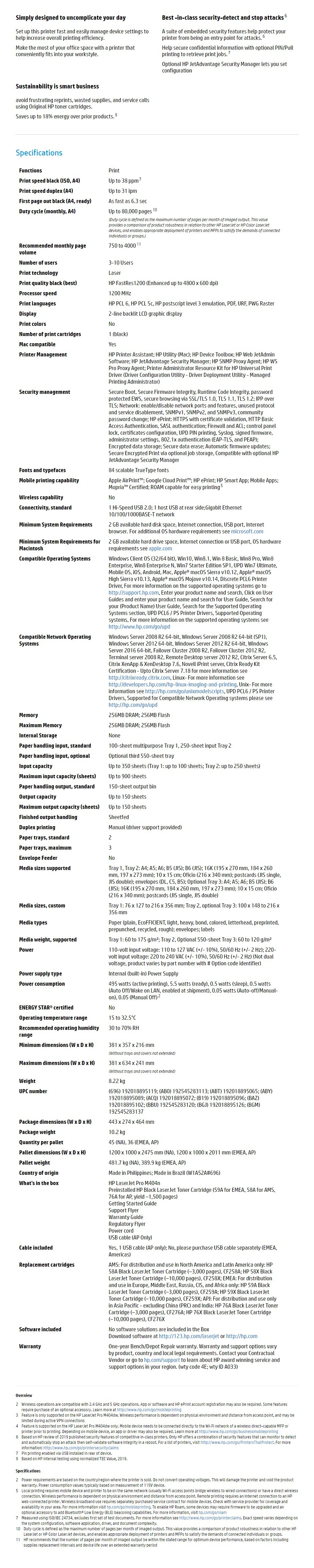 HP LaserJet Pro M404n Laser Monochrome Printer - Overview 1