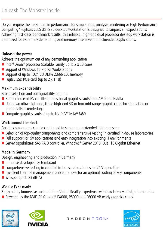 Fujitsu Celsius R970 Xeon Gold 6132 64GB 2TB + 1TB NVMe SSD P4000 Win 10 Pro WS - Overview 1