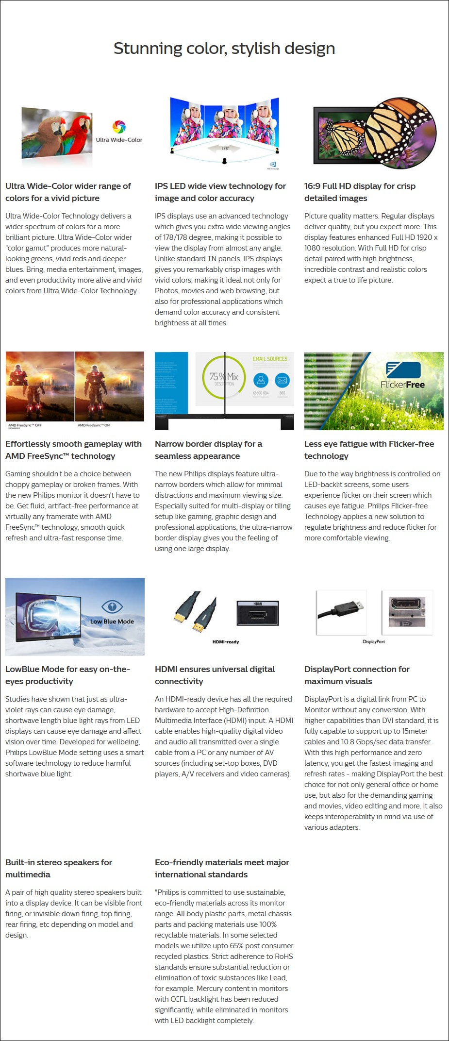 "Philips E-Line 276E9QJAB 27"" 75Hz FHD Wide-Colour IPS FreeSync Monitor - Overview 1"