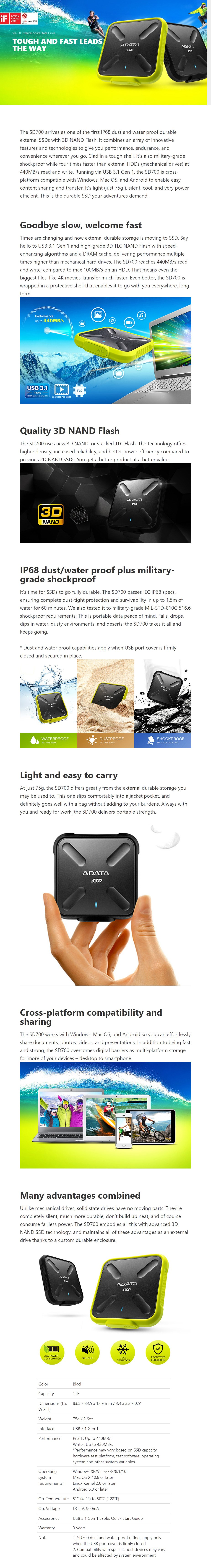Adata SD700 1TB USB 3.1 Portable External Rugged SSD Hard Drive - Black - Overview 1