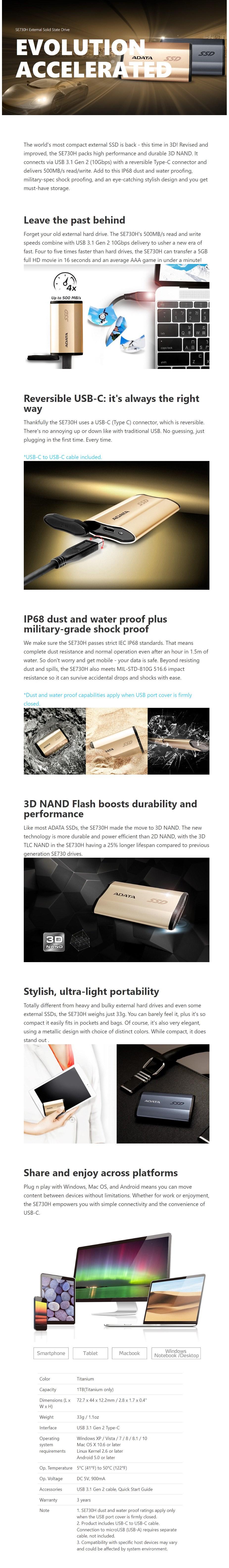 Adata SE730H 1TB USB 3.1 Type-C Portable External SSD Hard Drive - Titanium  - Overview 1