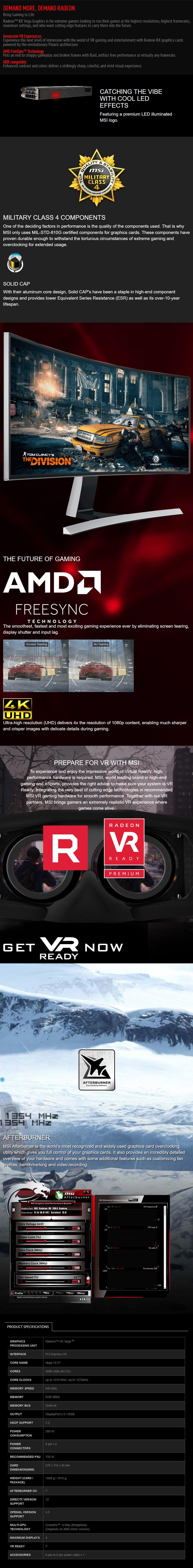 MSI Radeon RX Vega 64 Air Boost 8GB OC Video Card - Overview 1