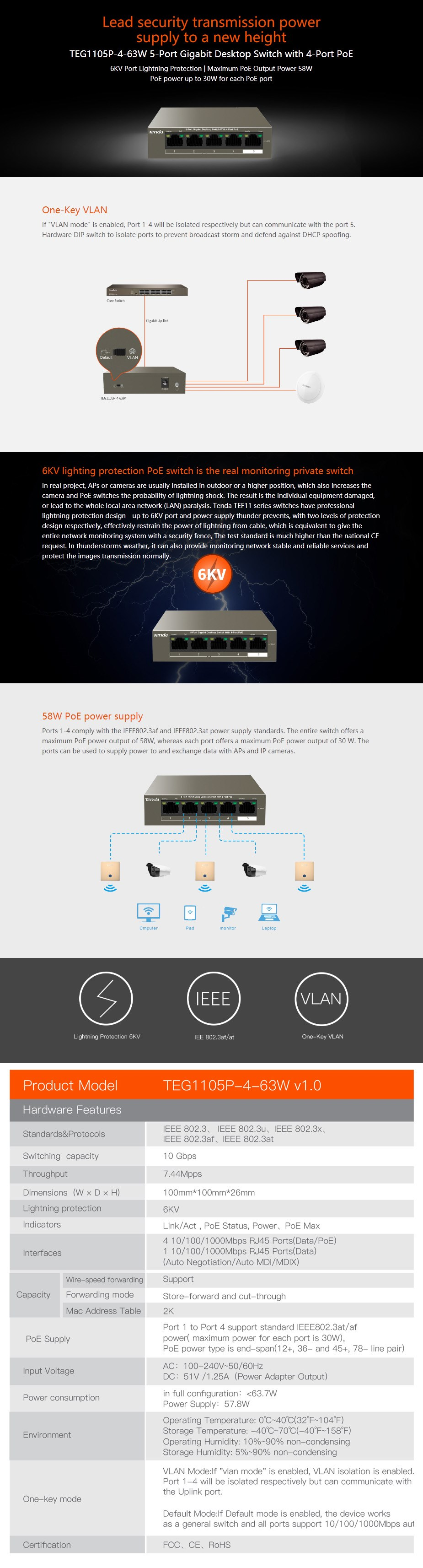 Tenda TEG1105P-4-63W 5-Port Gigabit Unmanaged Ethernet Switch with 4-Port PoE  - Overview 1