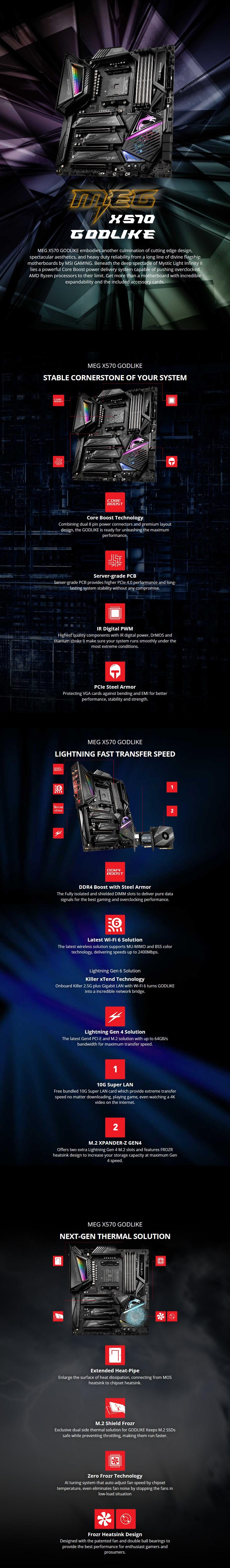MSI MEG X570 GODLIKE AM4 E-ATX Motherboard - Overview 1