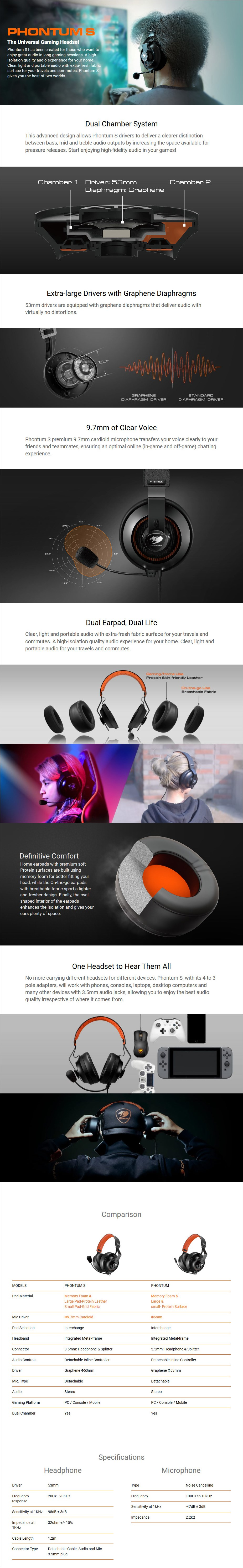 Cougar Phontum S Gaming Headset - Overview 1
