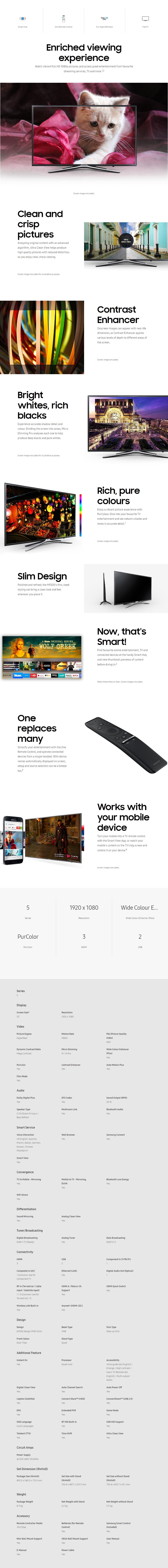 "Samsung Series 5 M5500 32"" FHD Smart TV - Overview 1"