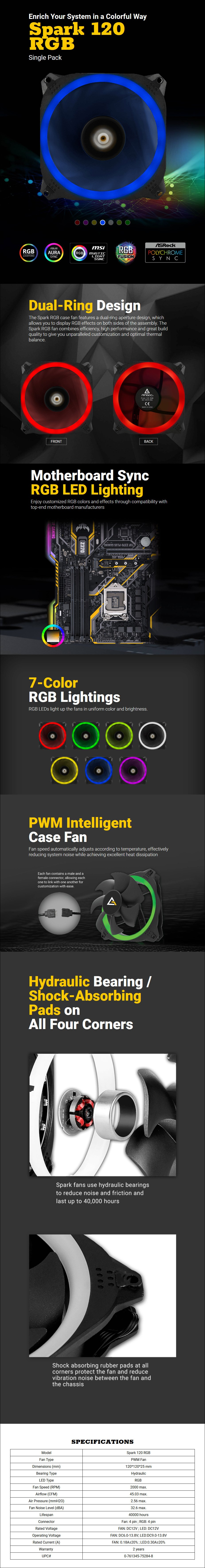 Antec Spark 120 RGB PWM 120mm Case Fan - Desktop Overview 1