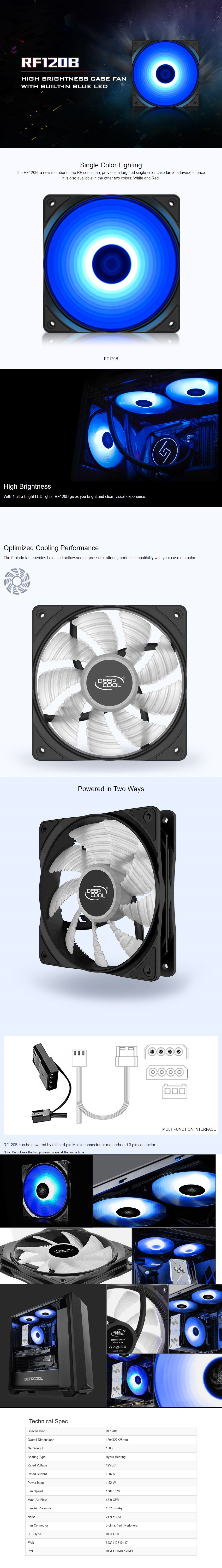 Deepcool RF120B 120mm High Brightness LED Fan - Blue - Overview 1