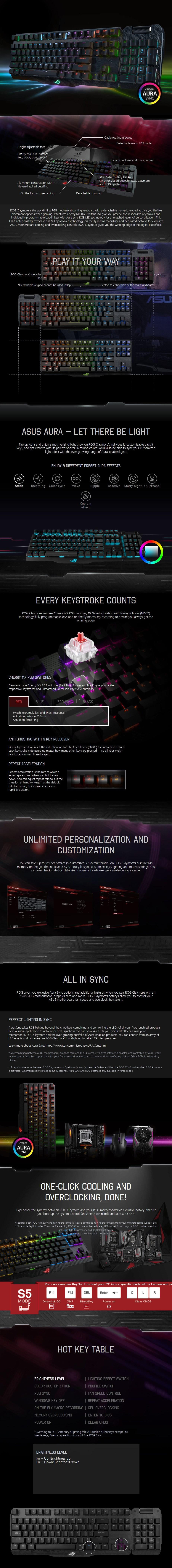 ASUS ROG Claymore RGB Mechanical Gaming Keyboard - Cherry MX