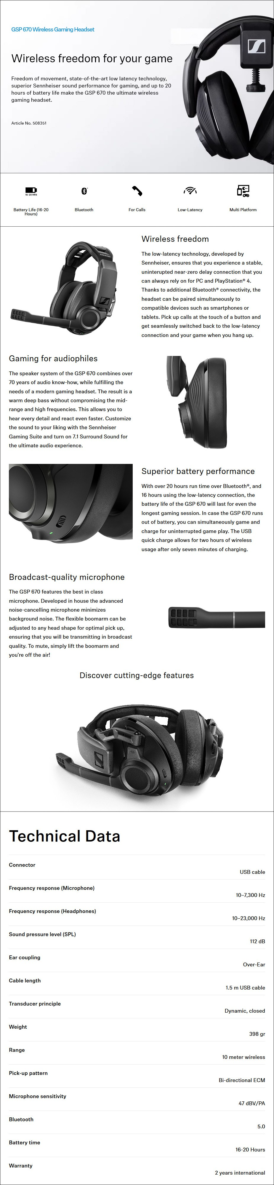 Sennheiser GSP 670 Professional Wireless Gaming Headset - Overview 1