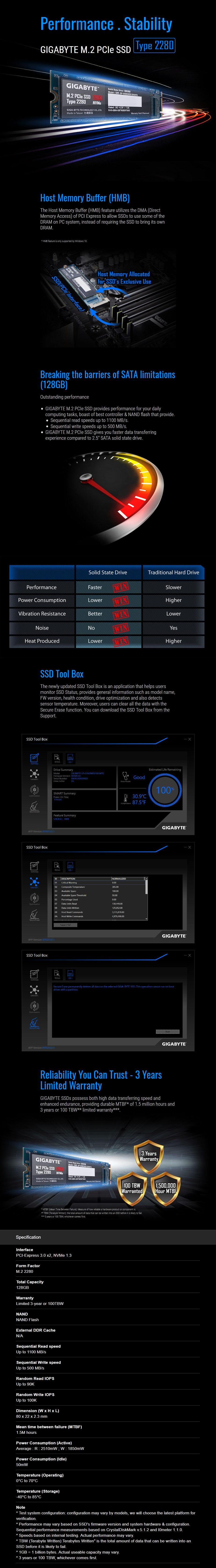 Gigabyte 128GB M.2 NVMe SSD GP-GSM2NE8128GNTD - Overview 1