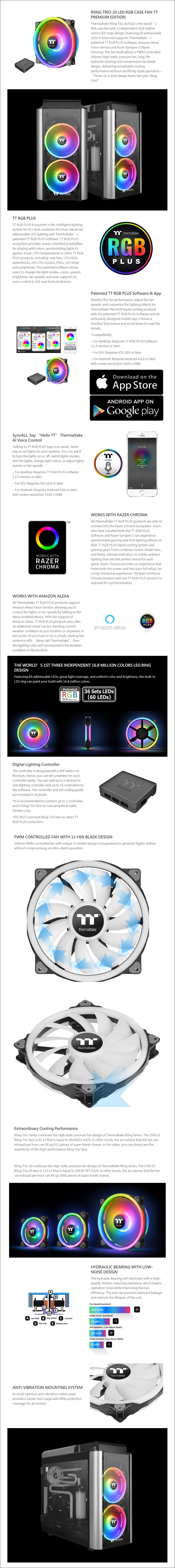 Thermaltake Riing Trio 20 RGB TT Premium 200mm Case Fan w/ Controller - Desktop Overview 1