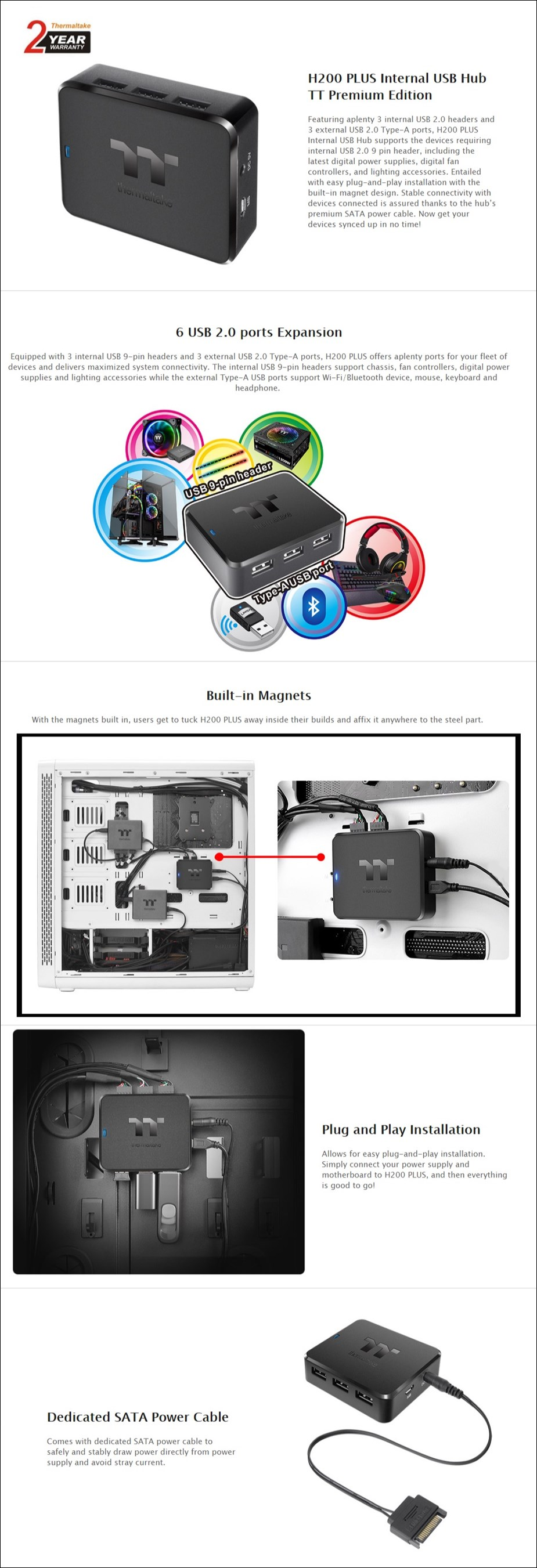 Thermaltake H200 PLUS Internal USB Hub - Overview 1