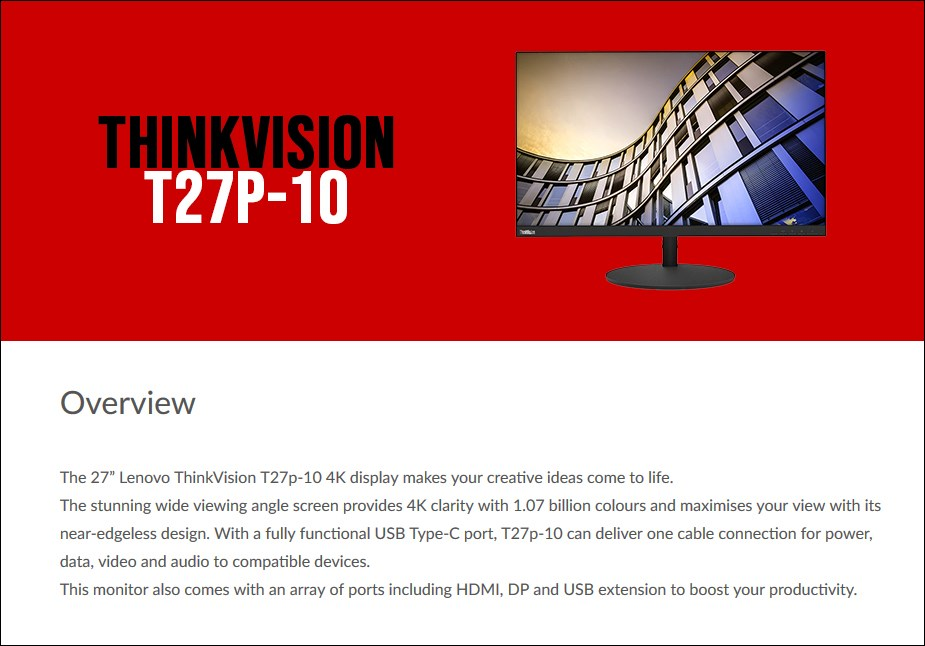 "Lenovo ThinkVision T27p-10 27"" 4K UHD Ergonomic USB-C IPS Monitor - Overview 1"
