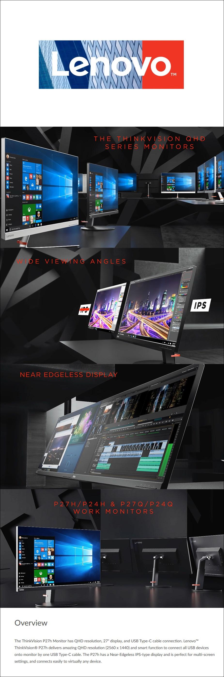 "Lenovo ThinkVision P27 27"" QHD 99% sRGB USB-C IPS Monitor - Desktop Overview 1"