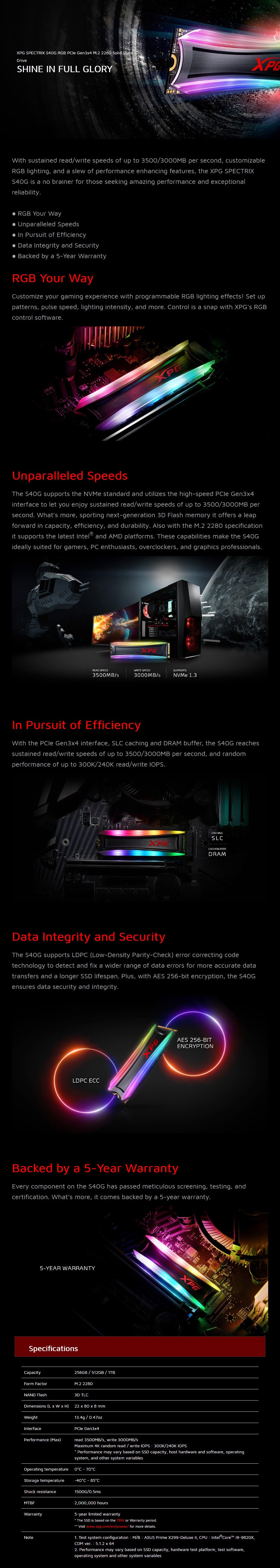 ADATA XPG Spectrix S40G 1TB RGB M.2 NVMe SSD AS40G-1TT-C - Overview 1