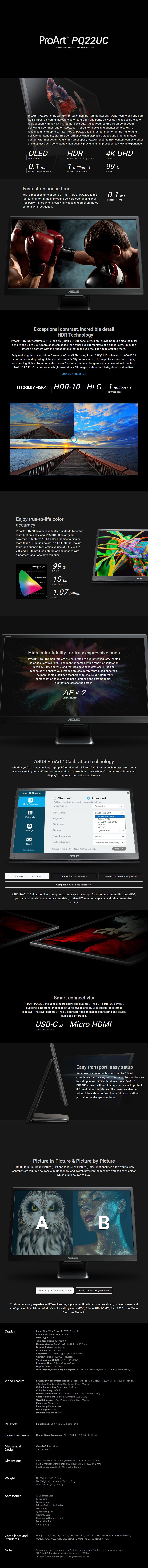 """ASUS ProArt PQ22UC 21.6"""" 4K HDR Professional Portable OLED Monitor - Overview 1"""