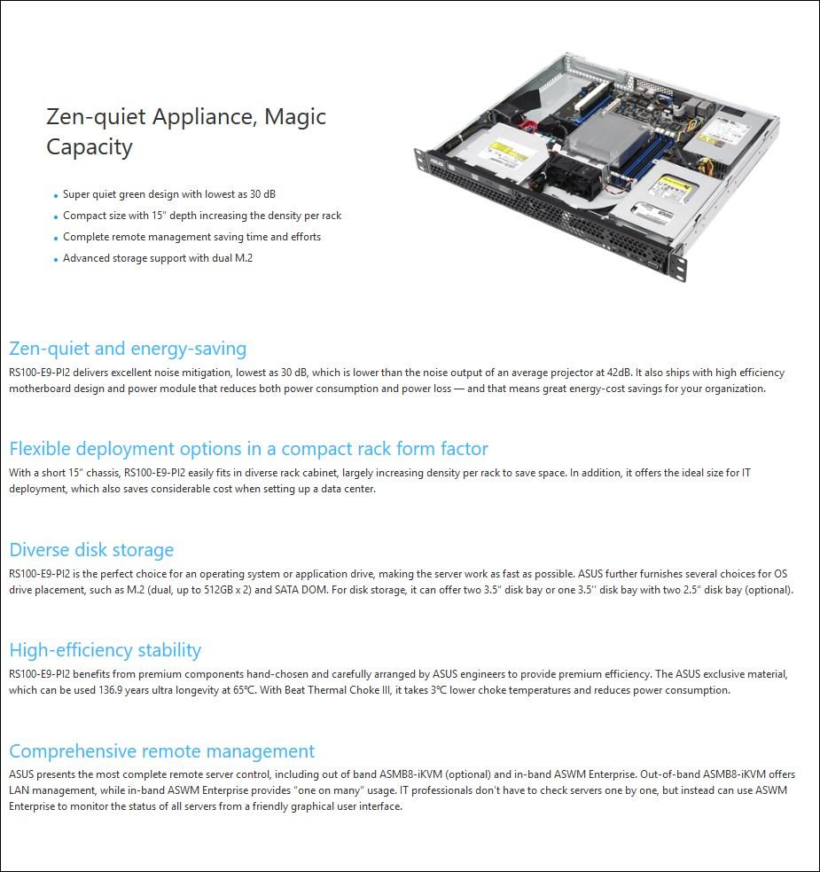 ASUS RS100-E9-PI2 1U Barebone Server LGA1151(0/1) RAM(0/4) HDD(0/2) M.2(0/2) - Desktop Overview 1