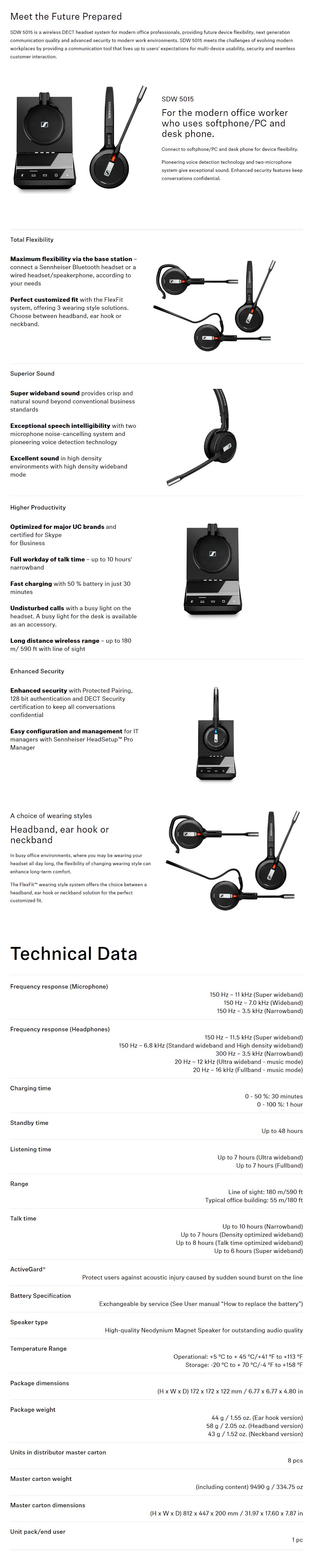 Sennheiser SDW 5015 DECT Wireless Headset with Base Station - Overview 1