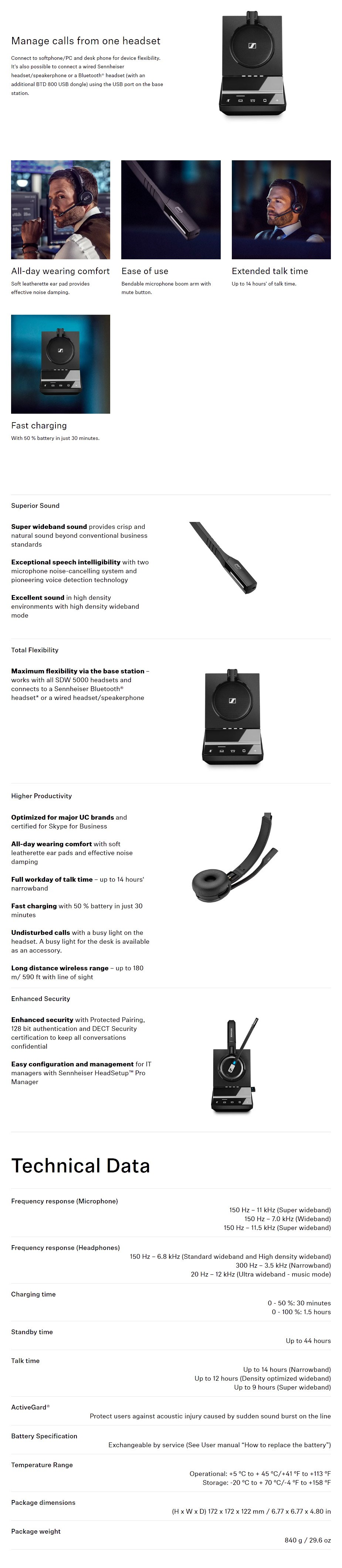 Sennheiser SDW 5035 DECT Wireless Headset with Base Station  - Overview 1