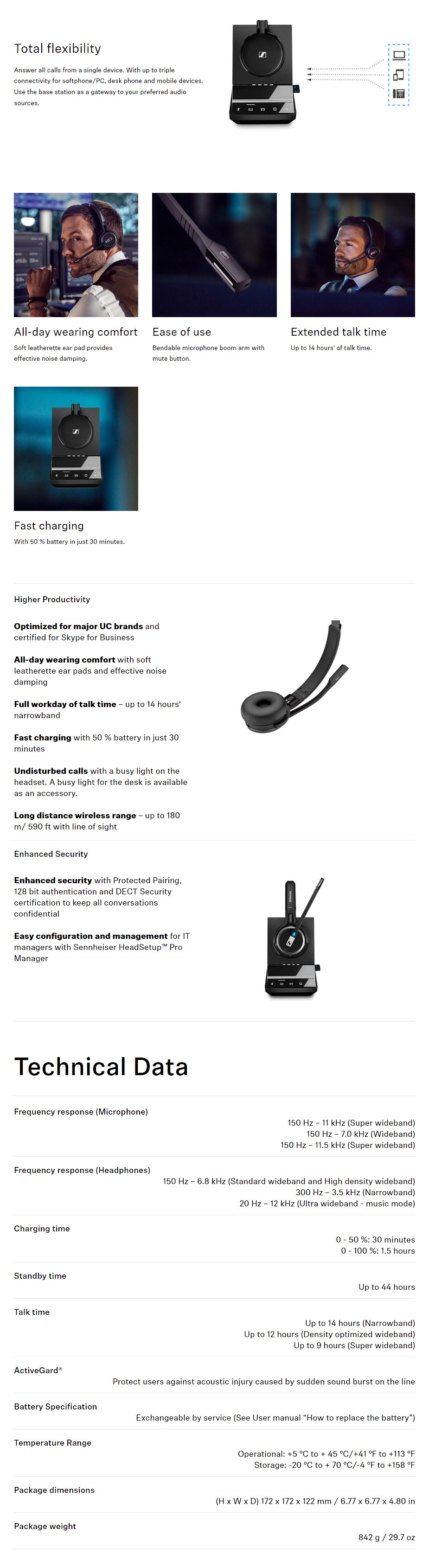 Sennheiser SDW 5036 DECT Wireless Headset with Base Station + BTD 800 Dongle - Overview 1
