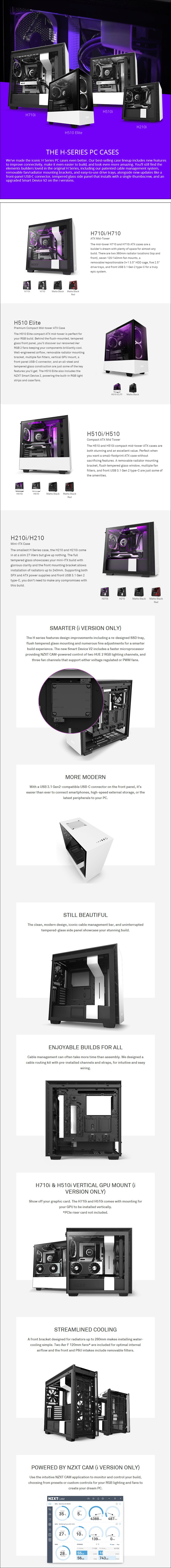 NZXT H710 Smart Tempered Glass Mid-Tower E-ATX Case - Overview 1