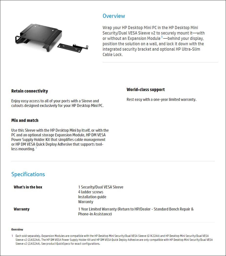 HP Desktop Mini Security/Dual VESA Sleeve v2 - Overview 1