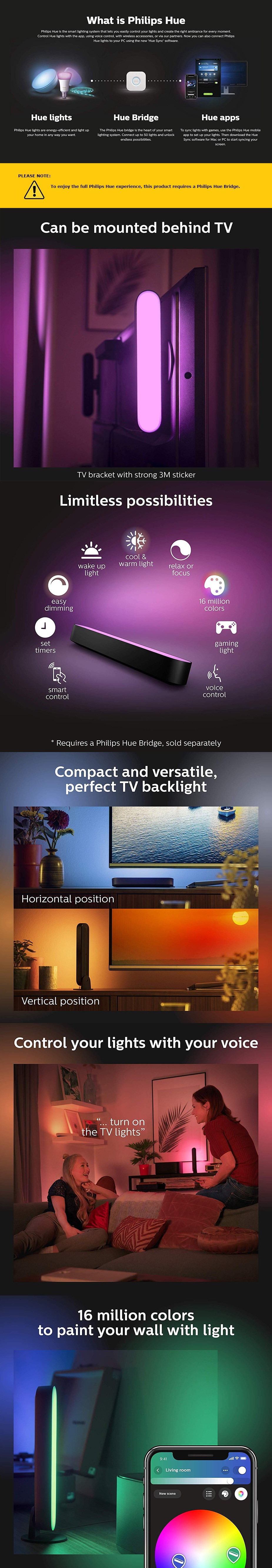 Philips Hue Play White/Colour Ambiance Smart LED Bar Light - Base Kit 1 Pack - Desktop Overview 1