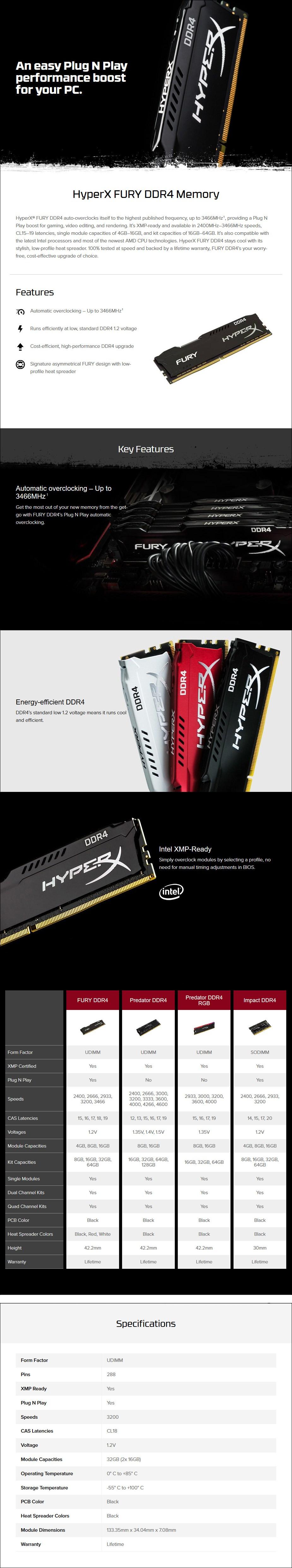 Kingston HyperX FURY 32GB (2x 16GB) DDR4 3200MHz Memory Black - Overview 1