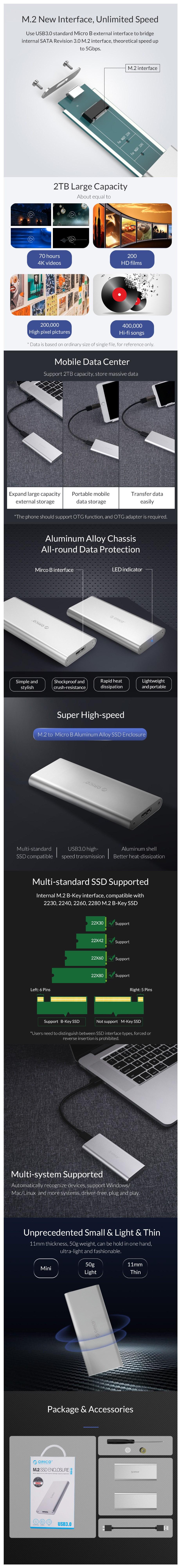 Orico M2G-U3 M.2 B-Key SSD to USB 3.0 Enclosure - Silver - Overview 1
