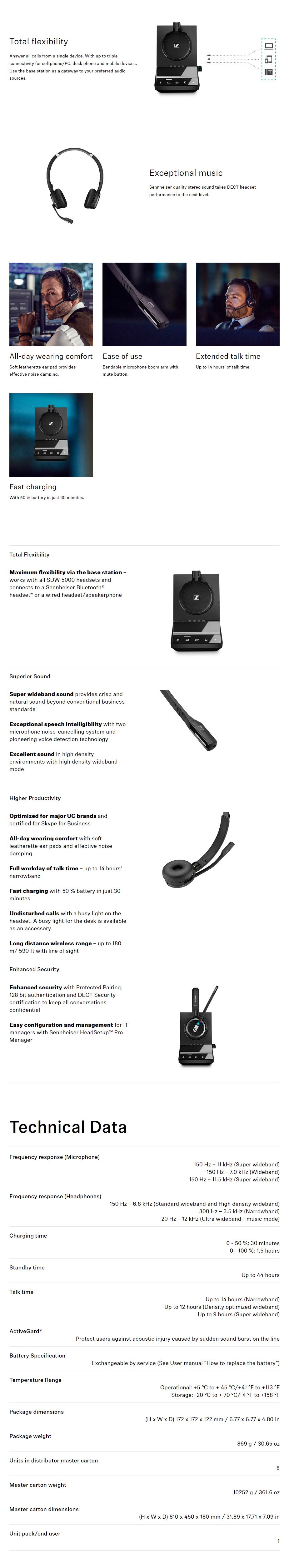 Sennheiser SDW 5066 DECT Wireless Headset with Base Station + BTD 800 Dongle - Overview 1