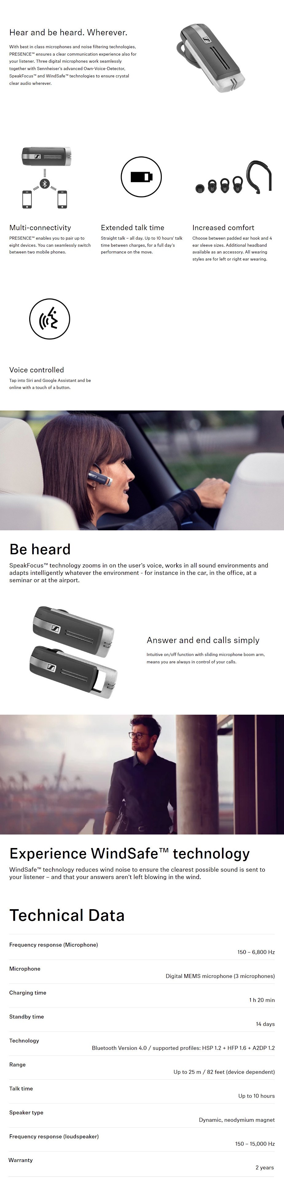 Sennheiser Presence Grey Business UC Certified Bluetooth Headset - Overview 1
