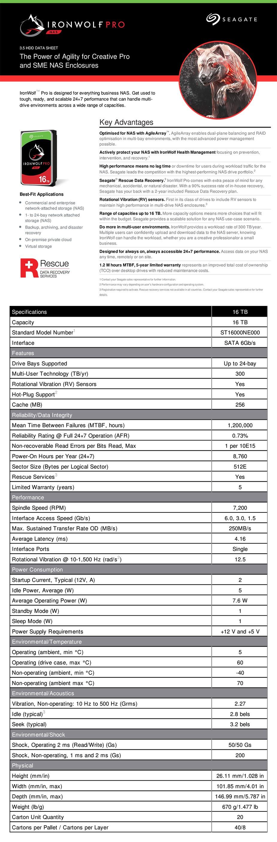 "Seagate ST16000NE000 16TB IronWolf Pro 3.5"" SATA3 NAS Hard Drive - Overview 1"