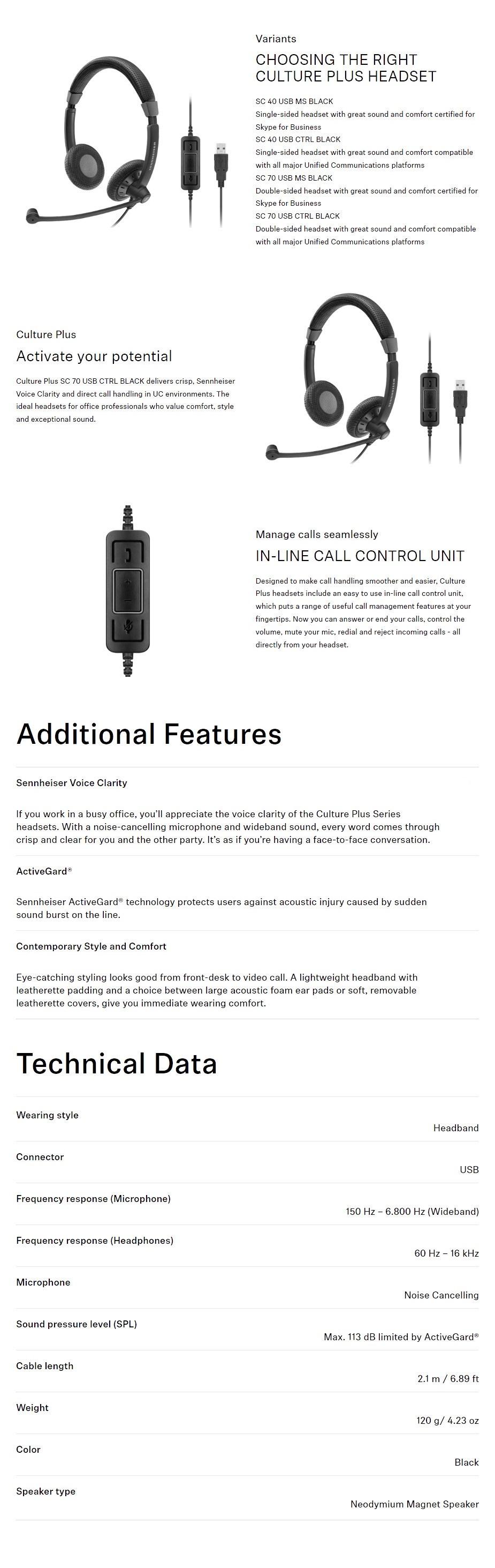 Sennheiser SC 70 USB CTRL Headset for PCs - Overview 1