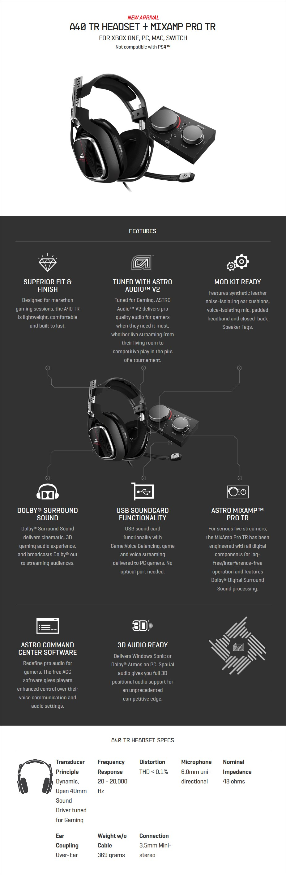 ASTRO A40 TR Gaming Headset + MixAmp Pro for Xbox One & PC (Gen 4) - Overview 2
