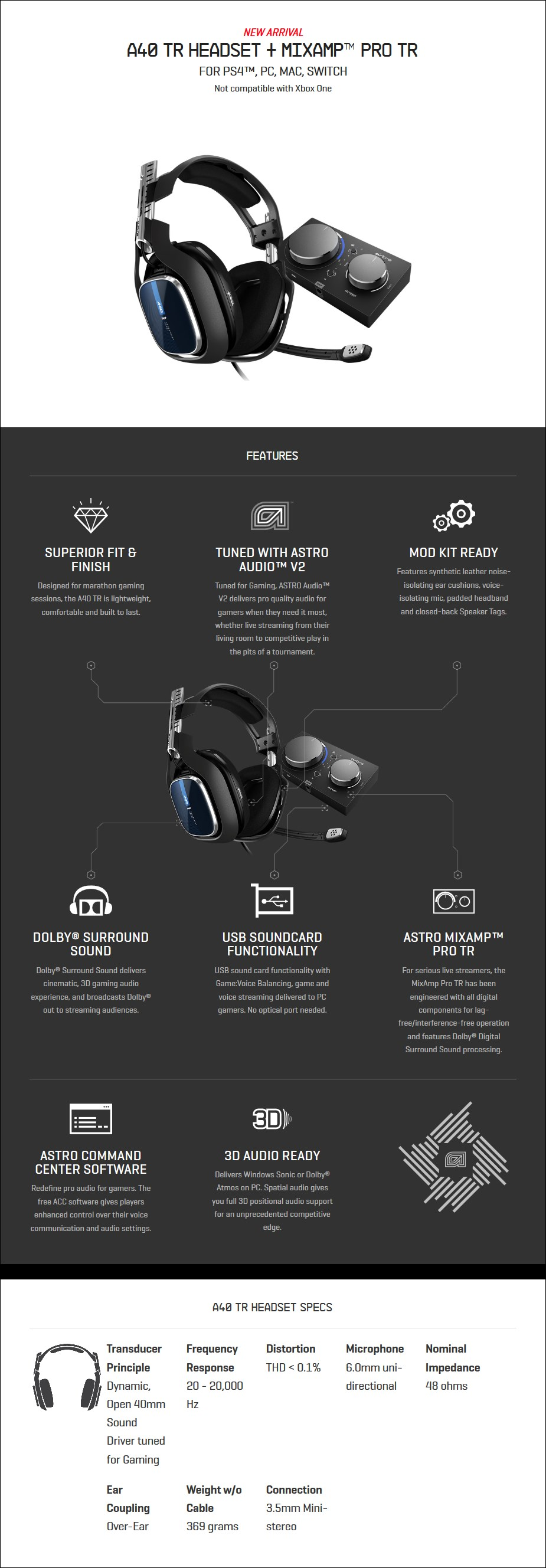 ASTRO A40 TR Gaming Headset + MixAmp Pro for PS4 & PC (Gen 4) - Overview 2