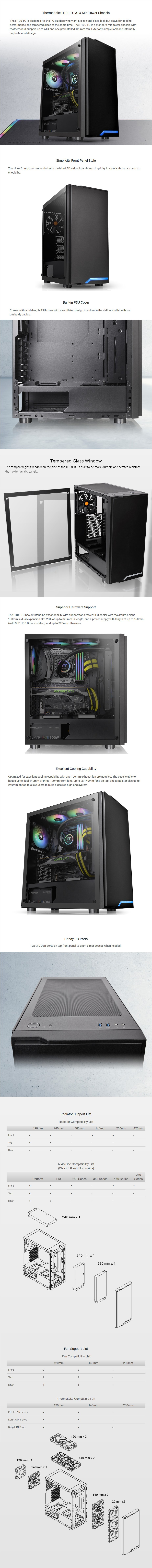 Thermaltake H100 Tempered Glass Mid-Tower ATX Case - Black - Overview 1