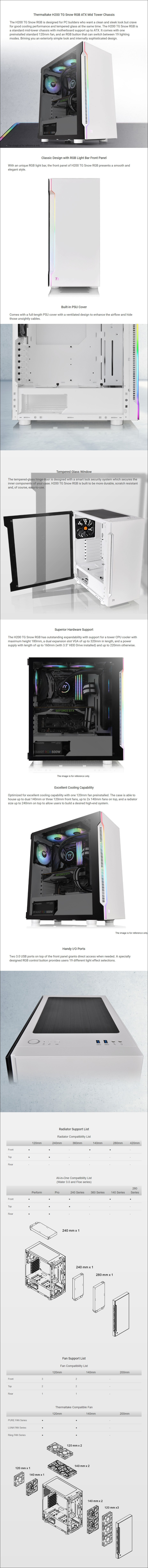 Thermaltake H200 RGB Tempered Glass Mid-Tower ATX Case - Snow - Overview 1