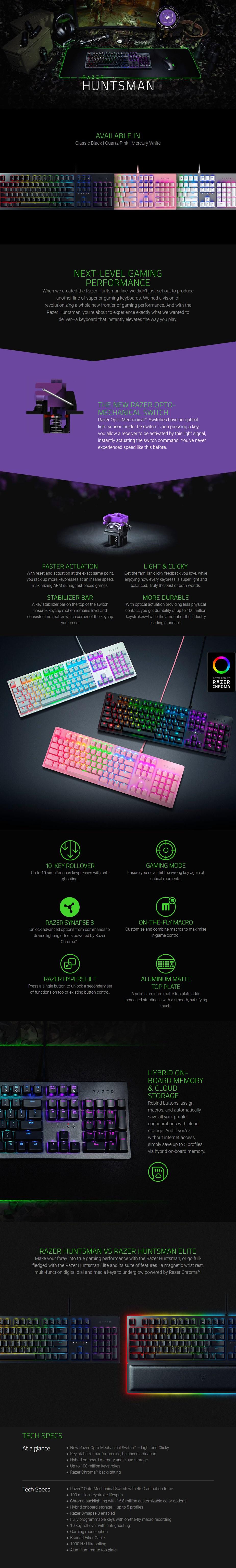 Razer Huntsman Opto-Mechanical Gaming Keyboard - Quartz - Overview 1