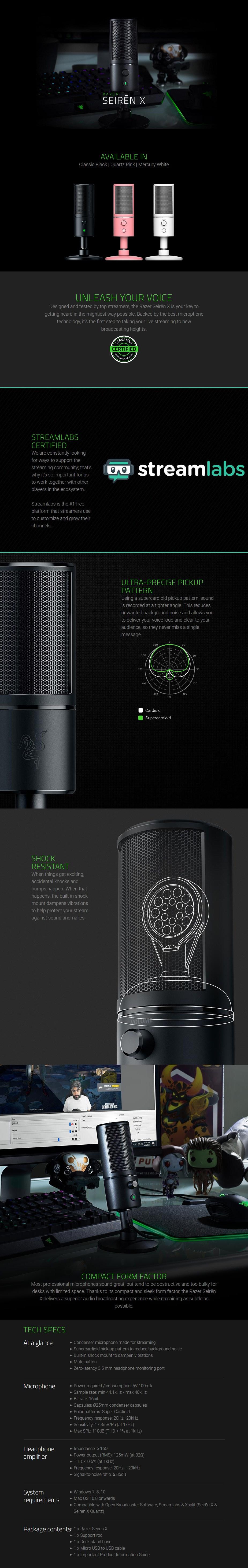 Razer Seiren X Cardioid Condenser Desktop Microphone - Quartz - Overview 1