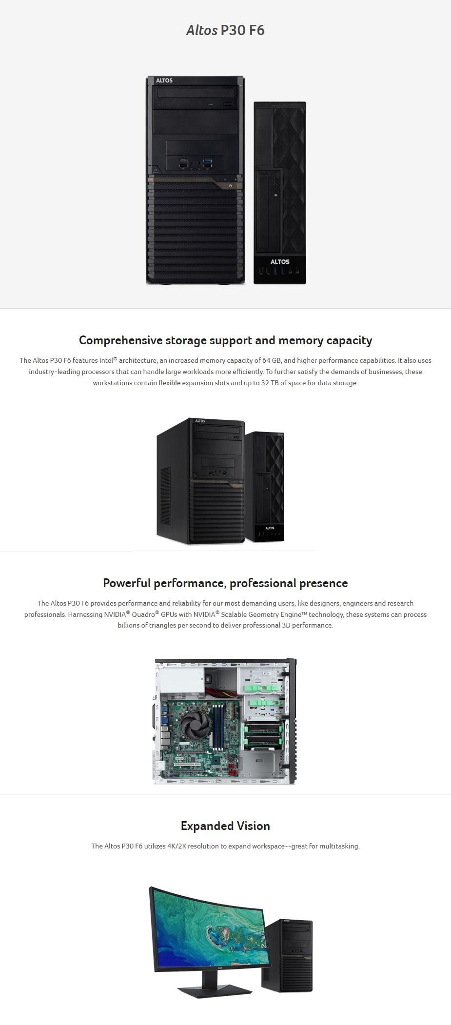 Acer Altos P30 F6 Tower Workstation i9-9900k 32GB 512GB RTX Titan Win10 Pro - Overview 1