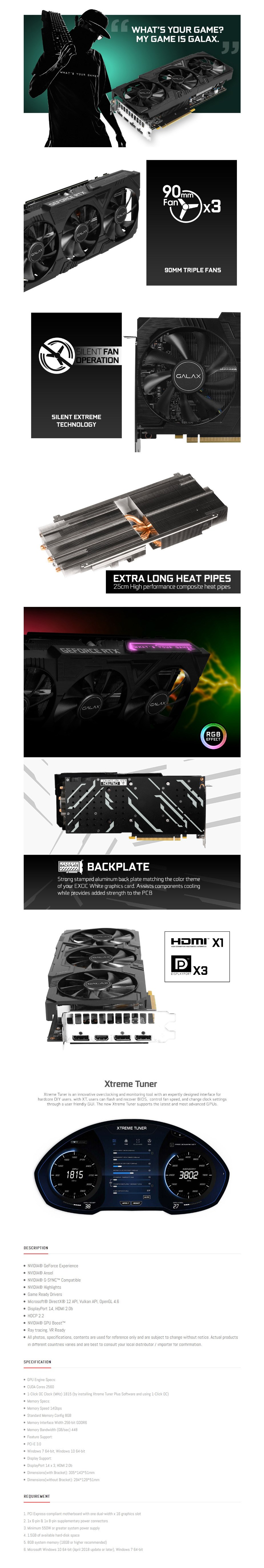 GALAX GeForce RTX 2070 Super EX Gamer Black Edition 8GB Video Card - Overview 1