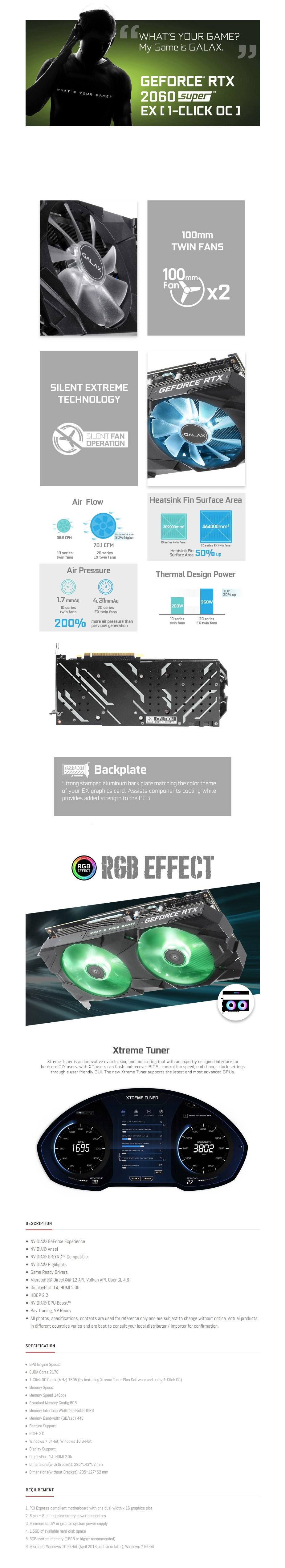GALAX GeForce RTX 2060 Super EX 1-Click OC 8GB Video Card - Overview 1