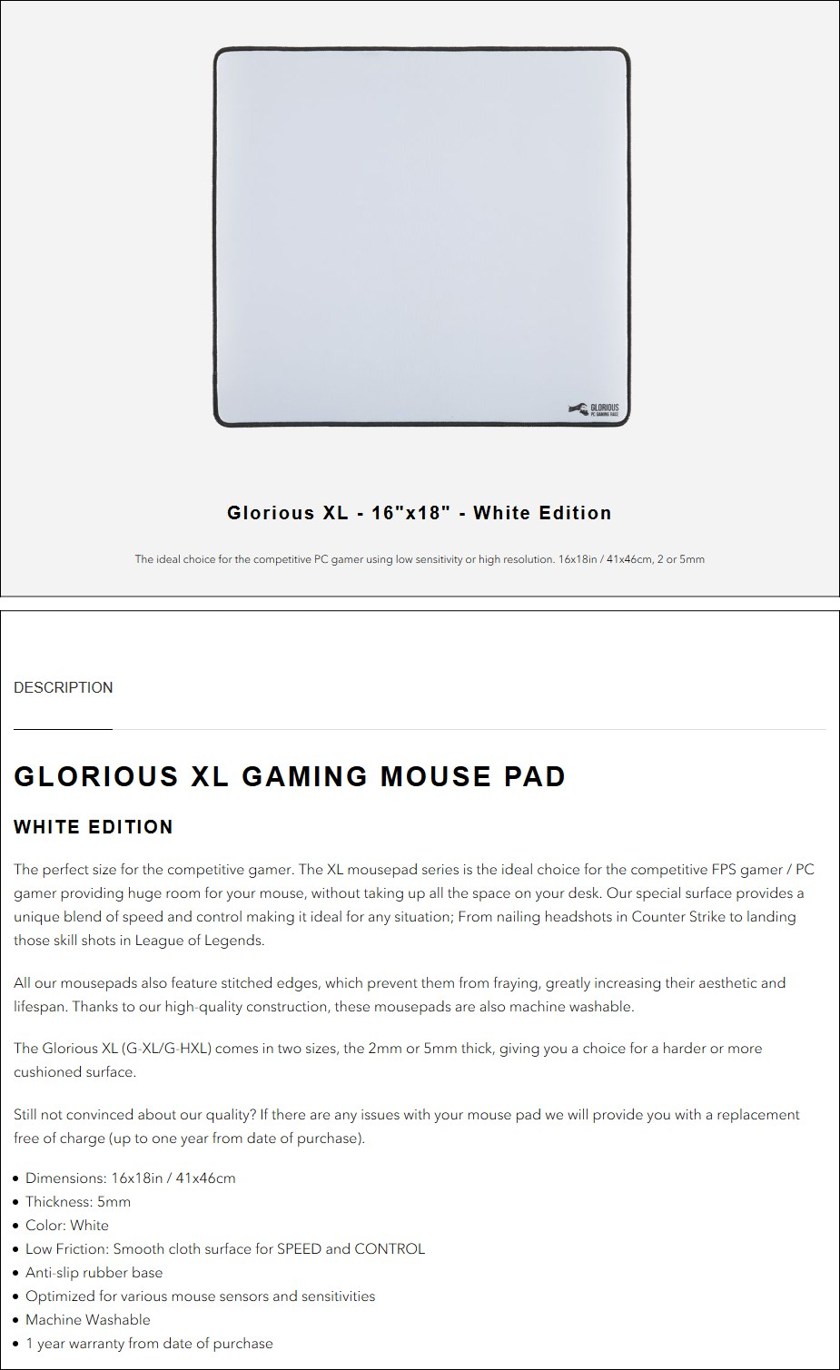 Glorious XL Heavy Gaming Mouse Mat - White - Overview 1
