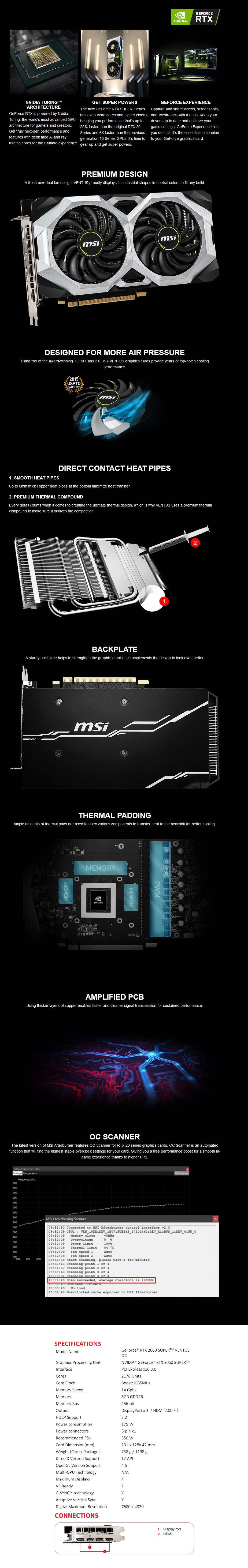 MSI GeForce RTX 2060 SUPER VENTUS OC 8GB Video Card - Overview 1