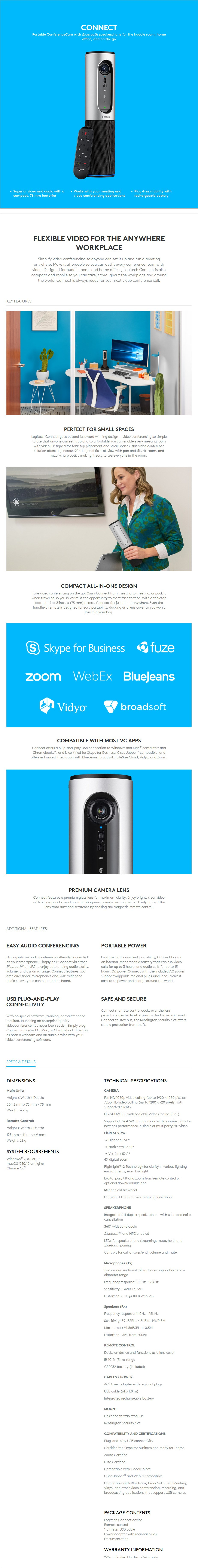 Logitech ConferenceCam Connect Full HD Portable Camera - Overview 1
