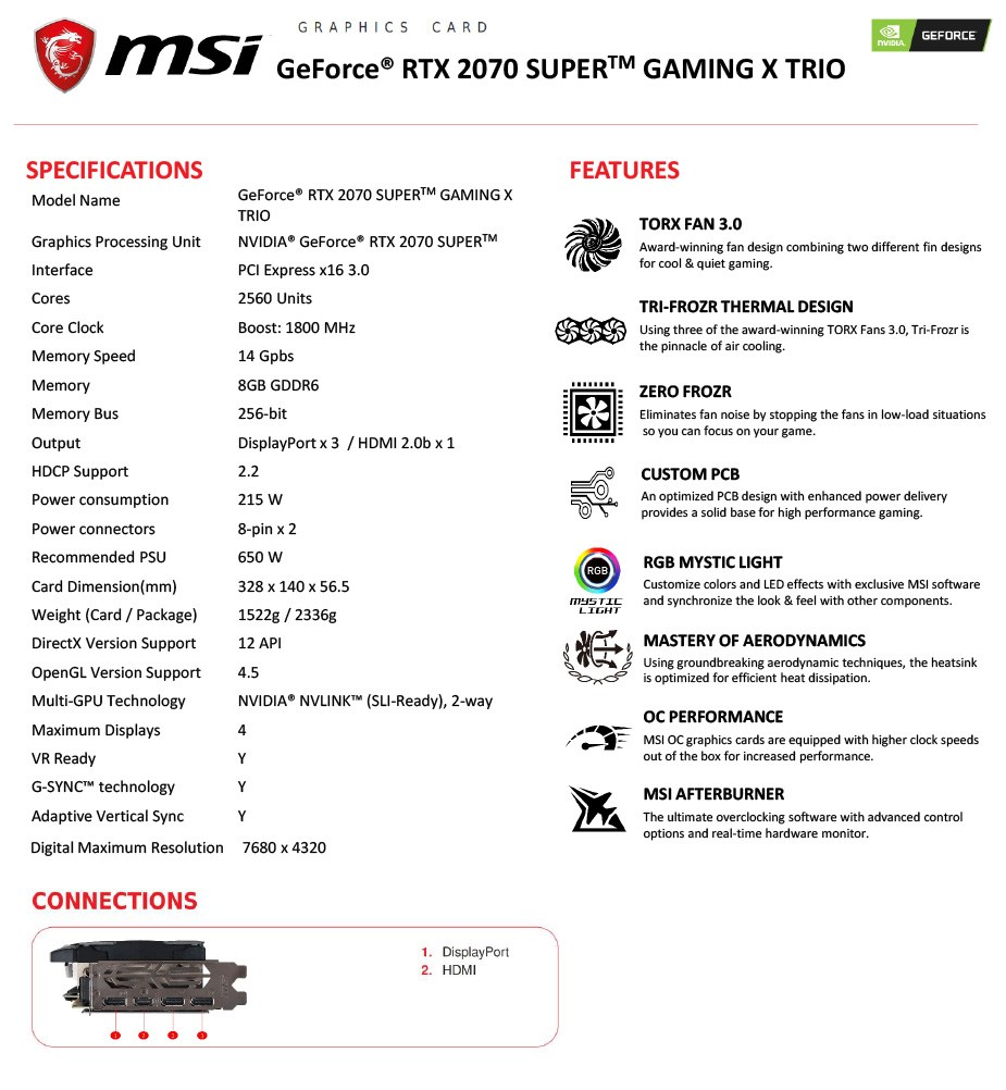 MSI GeForce RTX 2070 SUPER GAMING X TRIO 8GB Video Card - Overview 1