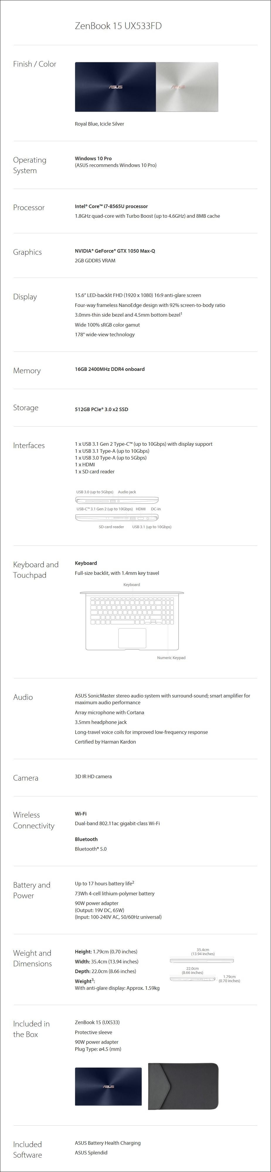 "ASUS ZenBook 15 UX533FD 15.6"" Laptop i7-8565U 16GB 512GB GTX1050 W10P - Blue - Overview 1"